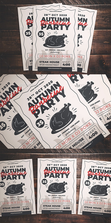 Autumn BBQ Party Flyer - Flyers Print Templates