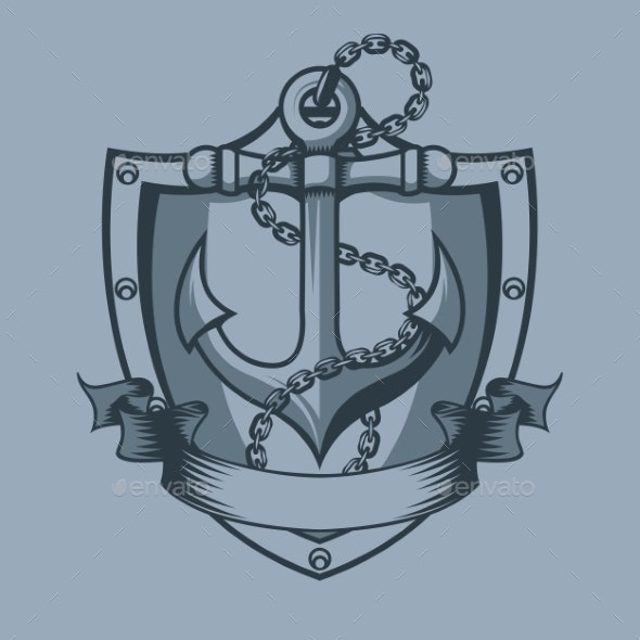 Anchor Shield Chain and Banner Tattoo Style - Tattoos Vectors