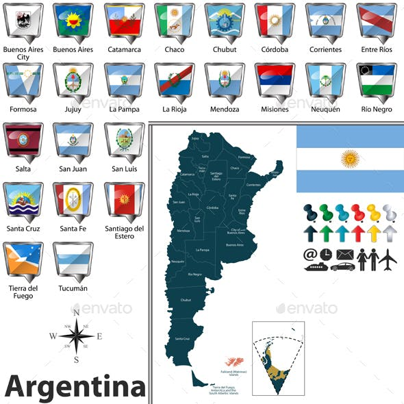Map of Argentina with Flags