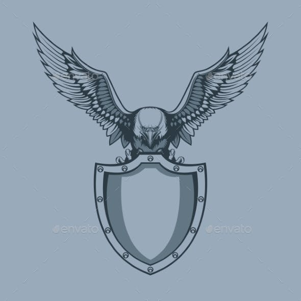 Eagle with Shield in Claws Tattoo Style