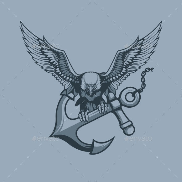 Eagle with Anchor in Claws Tattoo Style - Animals Characters