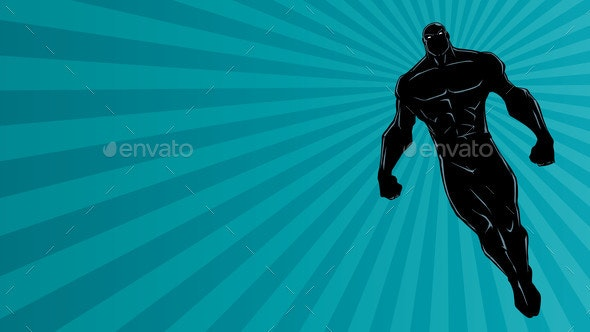 Superhero Flying Ray Light Background Silhouette - People Characters