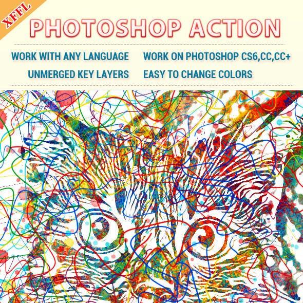 Watercolor Line Photoshop Action