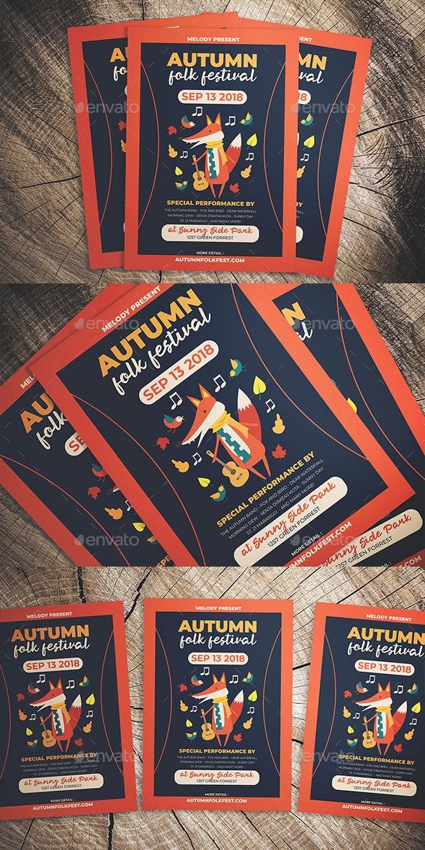 Autumn Folk Fest Flyer - Flyers Print Templates