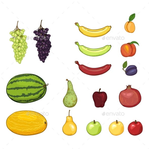 Vector Set of Cartoon Fruits
