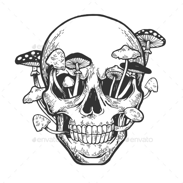 Human Skull with Mushrooms Sketch Engraving Vector - People Characters