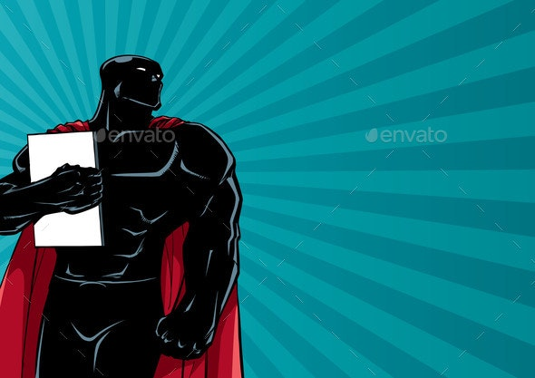 Superhero Holding Book Ray Light Silhouette - Backgrounds Decorative