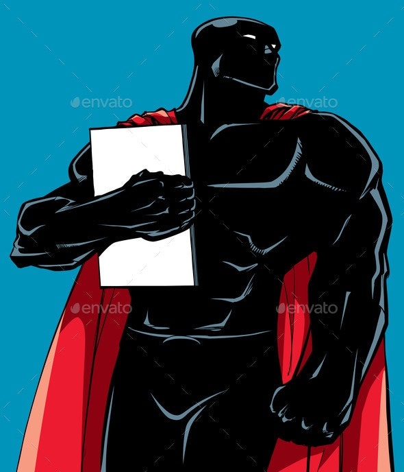Superhero Holding Book Silhouette - People Characters