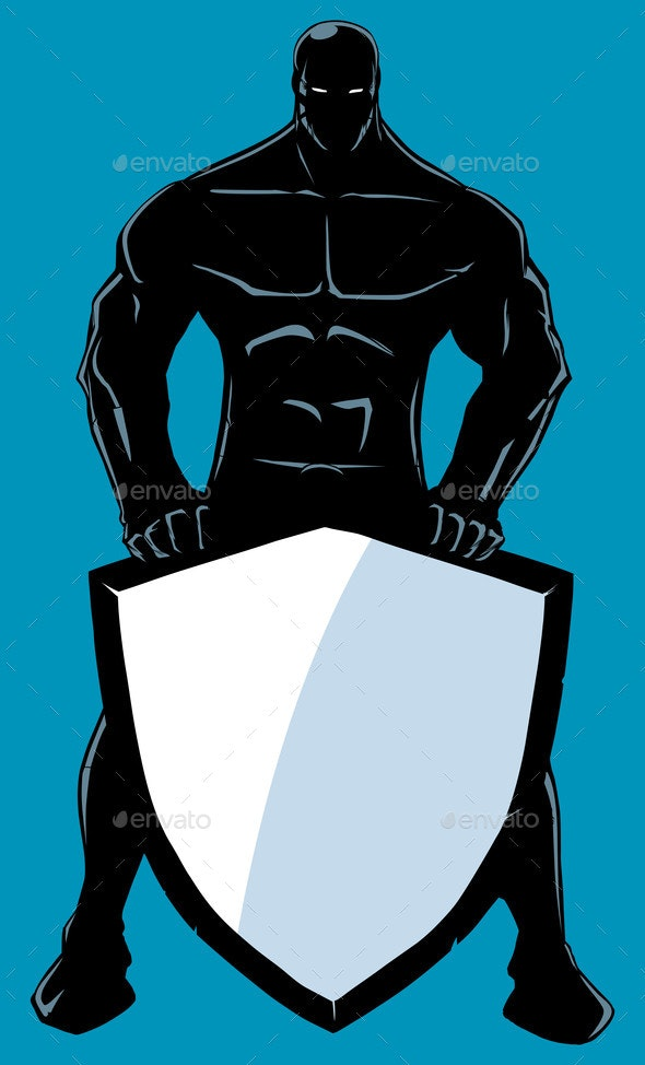 Superhero Holding Shield No Cape Silhouette - People Characters