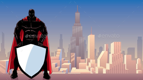 Superhero Holding Shield in City Silhouette - People Characters