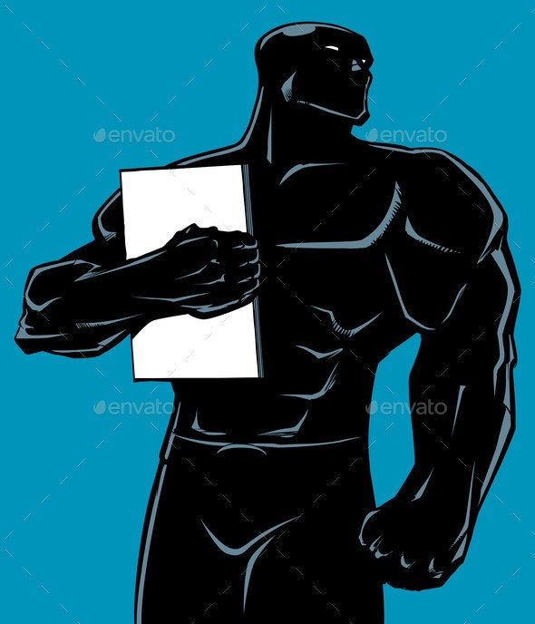 Superhero Holding Book No Cape Silhouette - People Characters