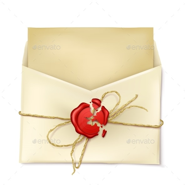 Opened Paper Envelope with Letter Realistic Vector - Man-made Objects Objects