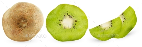Set of Realistic Kiwi From Different Angles - Food Objects