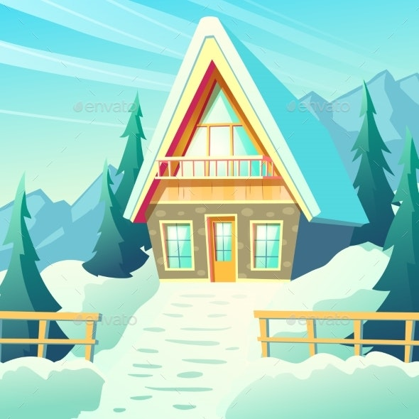 Village House in Winter Mountains Cartoon Vector - Buildings Objects