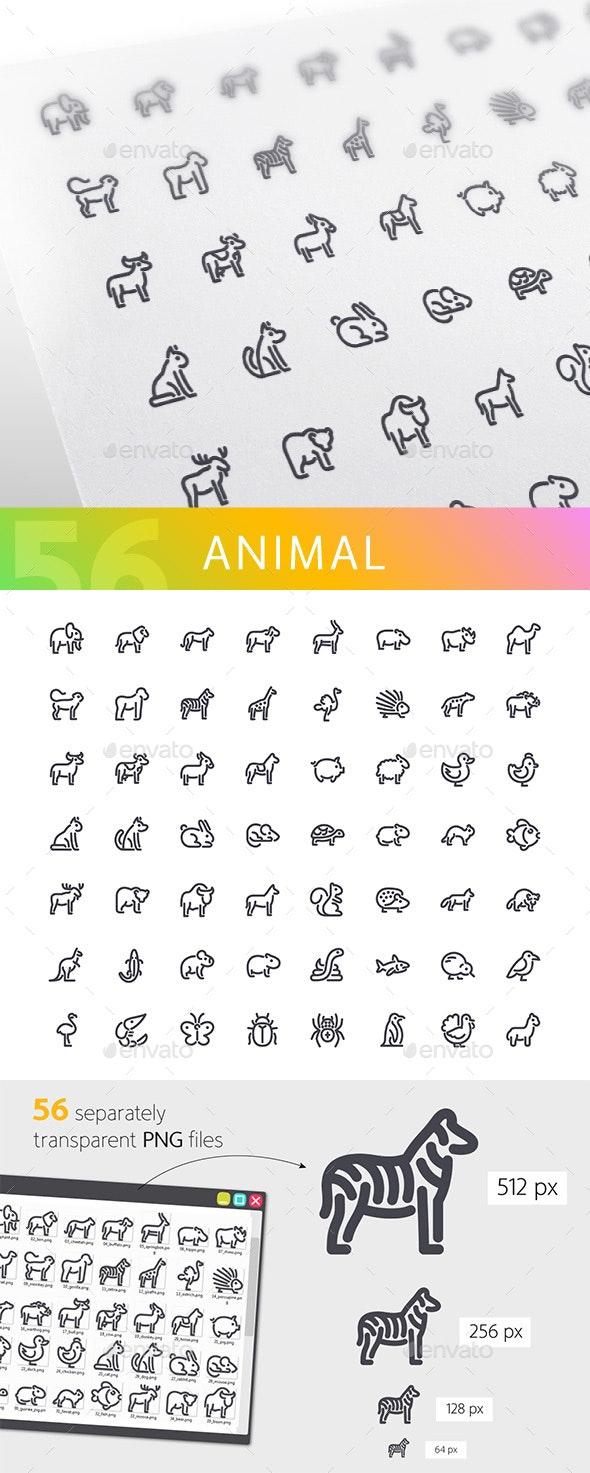 Animal Line Icons Set - Animals Characters