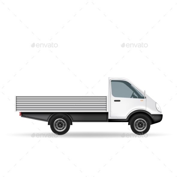 White Truck with Blank Area - Man-made Objects Objects