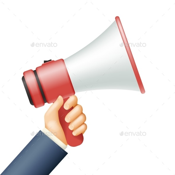 Hand Hold Megaphone Important Announcement Hiring - People Characters