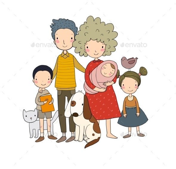 A Happy Family. Parents with Children. - People Characters