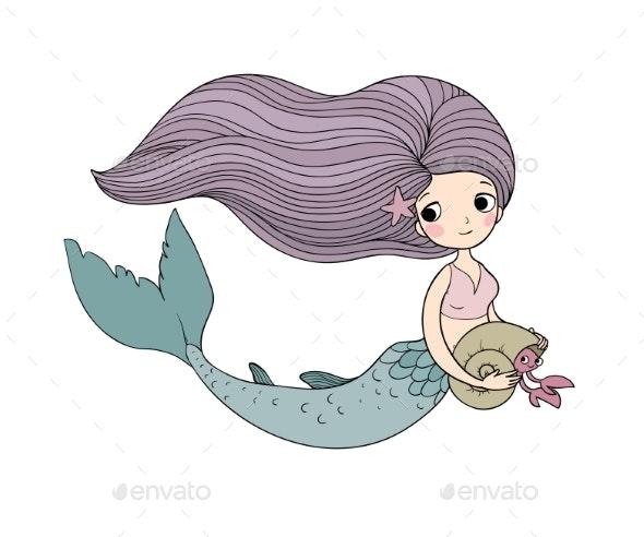 Cartoon Little Mermaid. Siren. Sea Theme. - Animals Characters