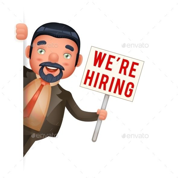 Recruiter Businessman Look Out Corner Hiring Paper - Concepts Business