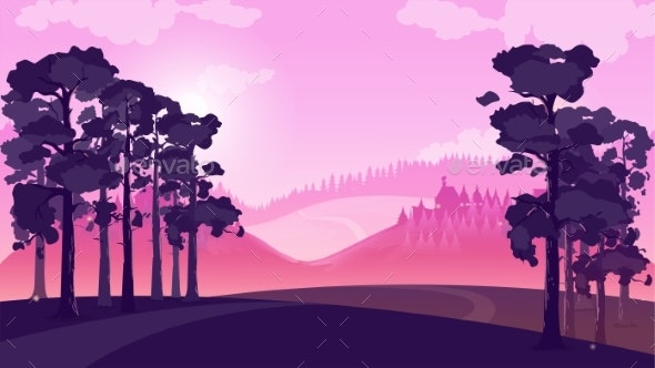 Purple Landscape with Fields and Hills, Vector - Miscellaneous Vectors