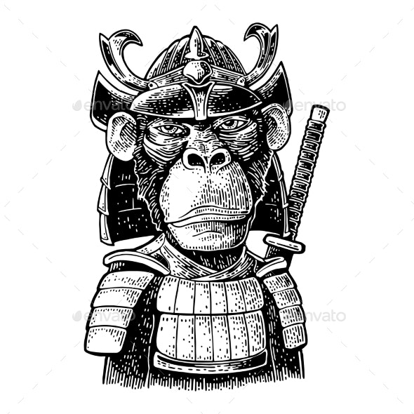 Monkey with Samurai Sword and Japan Armor - Animals Characters