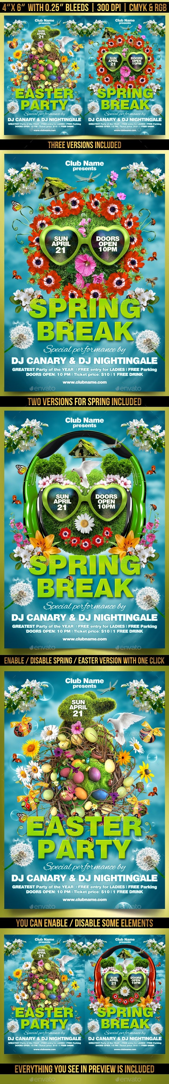 Spring and Easter Party Flyer Template - Clubs & Parties Events