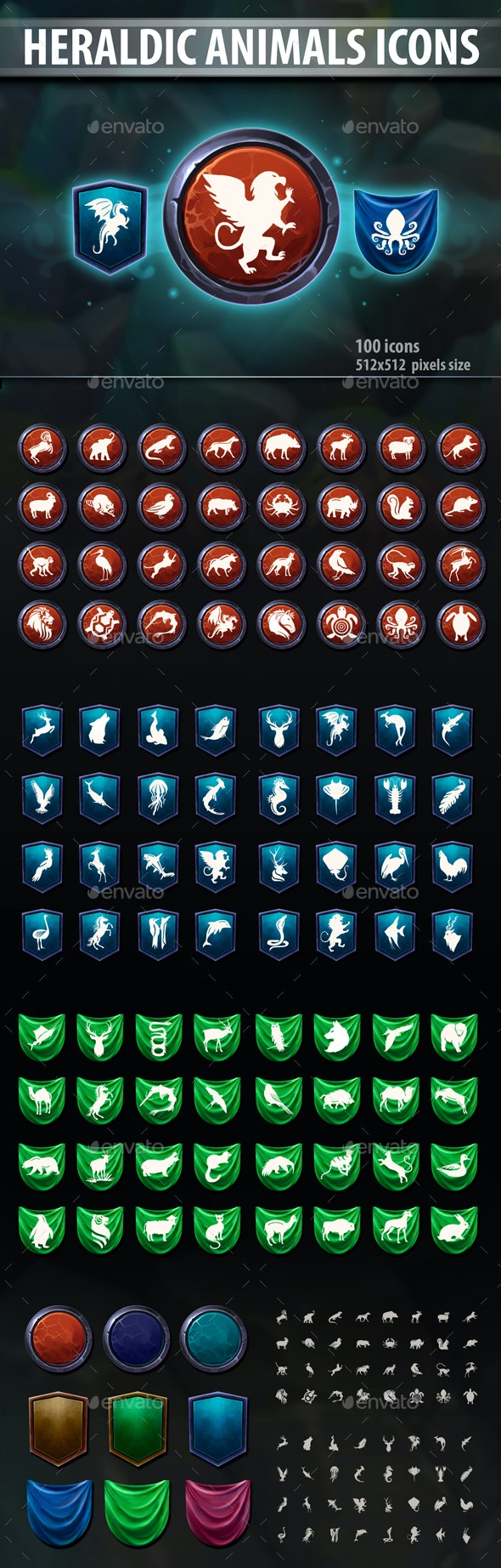 Heraldic Animals Icons - Miscellaneous Game Assets