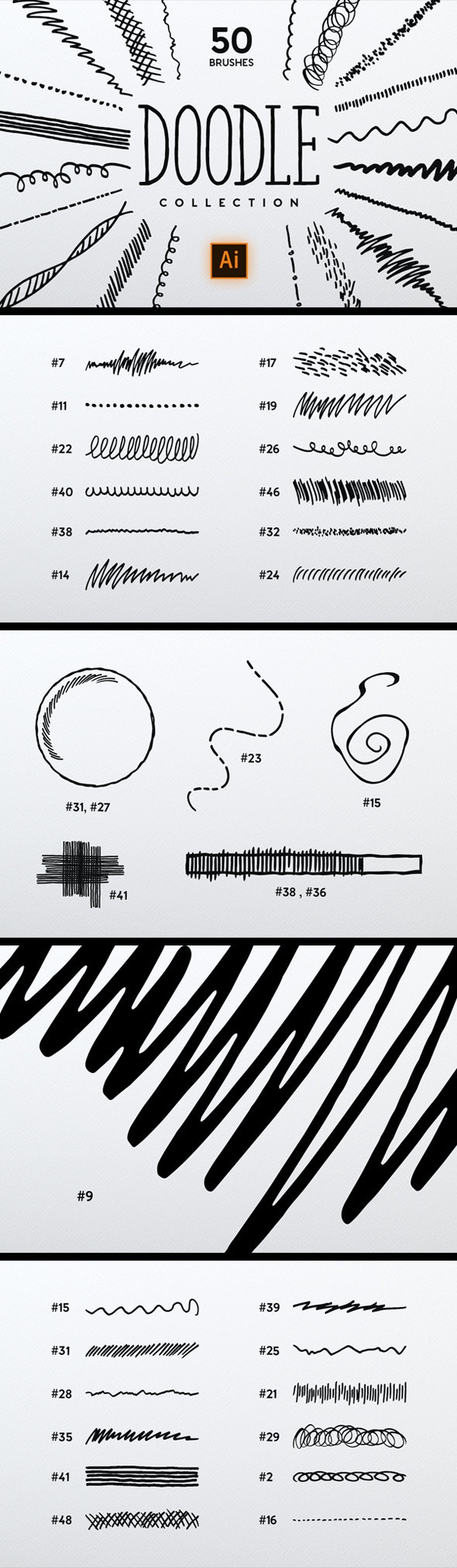 Doodle Brush Collection - Brushes Illustrator