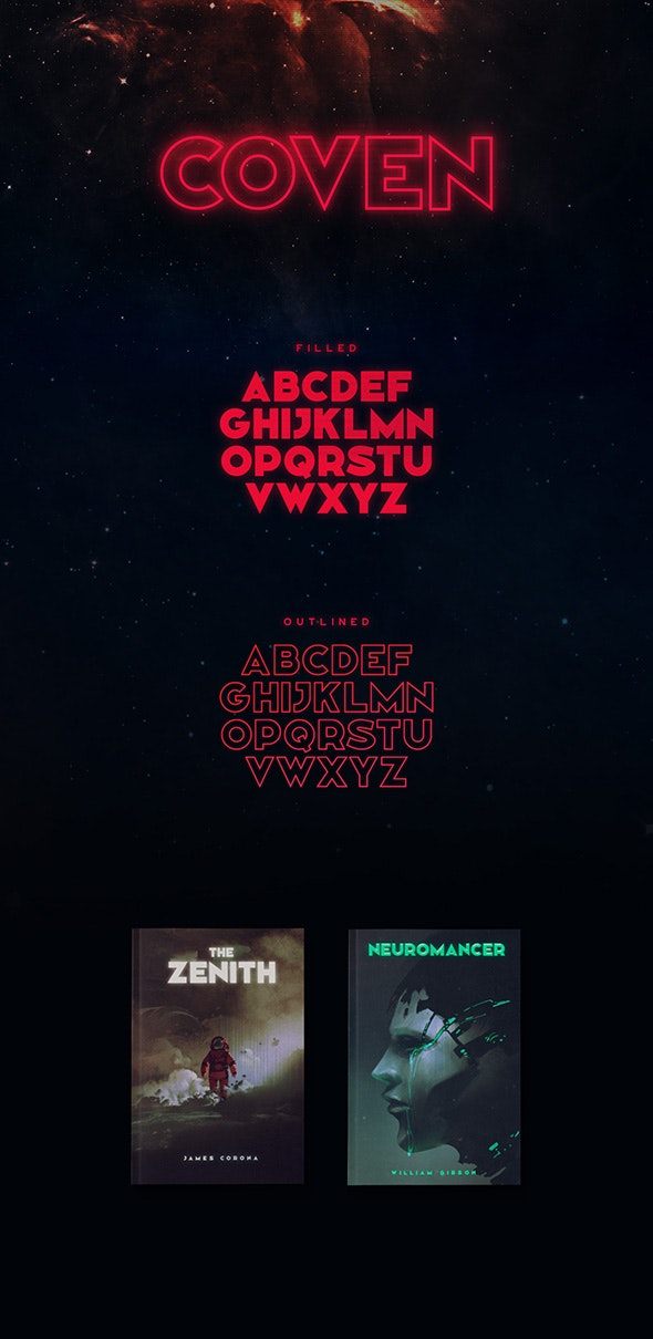 Coven Typeface - Futuristic Decorative