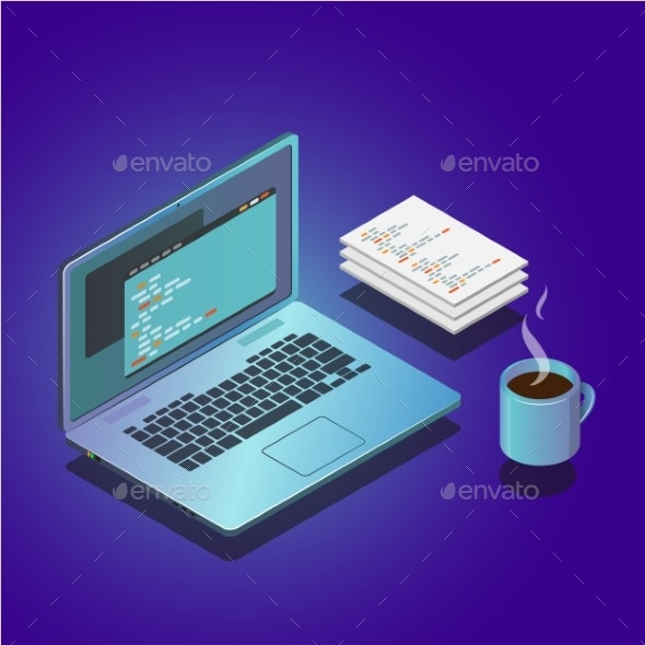 Isometric Workspace Composition with Laptop - Computers Technology