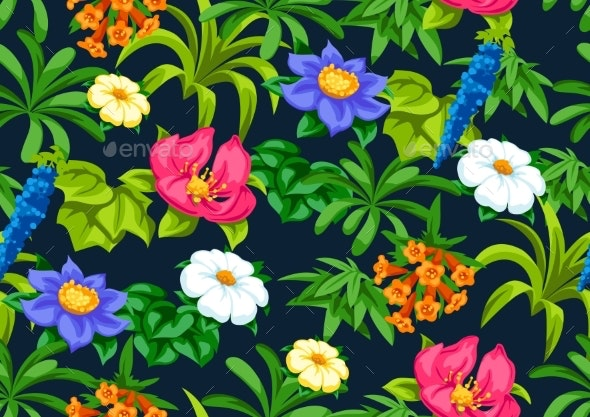 Seamless Pattern with Tropical Flowers - Flowers & Plants Nature