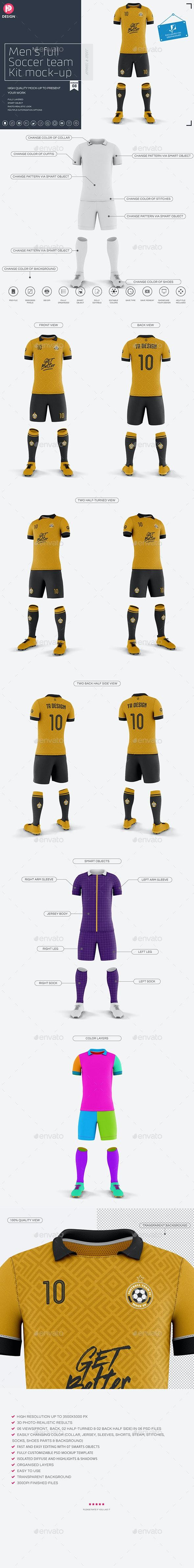 Men's Full Soccer Team Kit Mockup V8 - Miscellaneous Product Mock-Ups