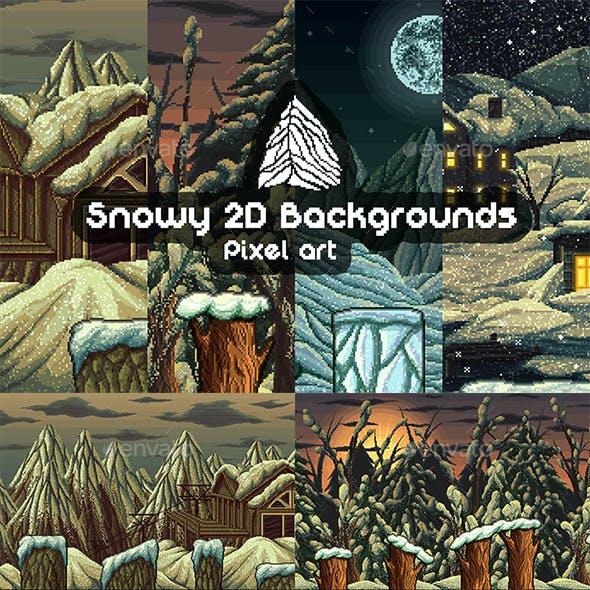 Pixel Art Snowy 2D Game Backgrounds