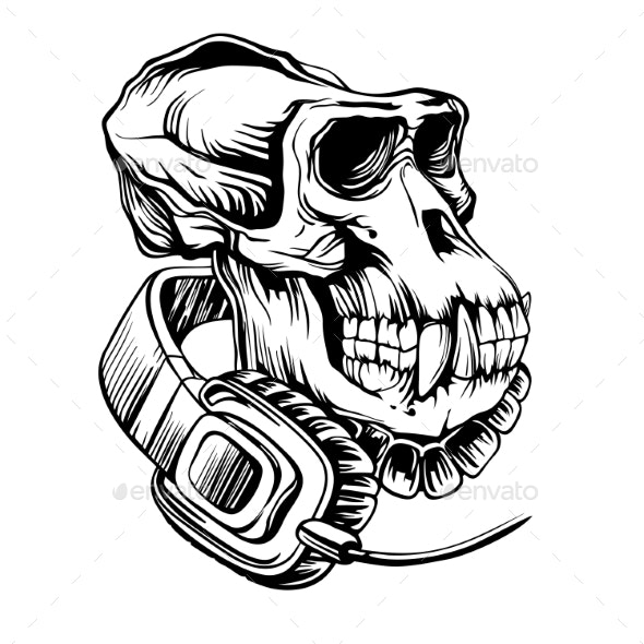 Skull of a Gorilla with Headphones - Animals Characters
