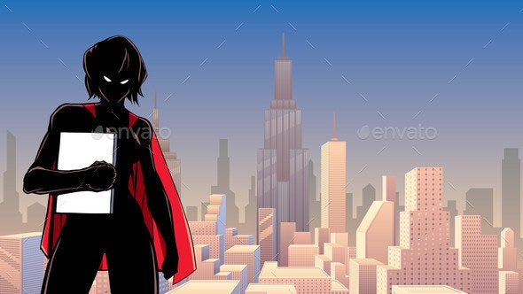 Superheroine Holding Book in City Silhouette - People Characters