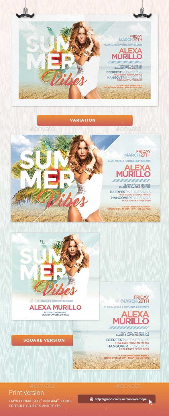 Summer Vibes Flyer Template - Clubs & Parties Events