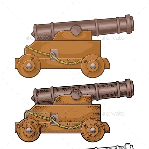 Cast Iron Cannon on Wooden Carriage with Wheels
