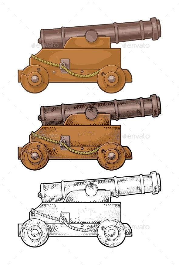 Cast Iron Cannon on Wooden Carriage with Wheels - People Characters