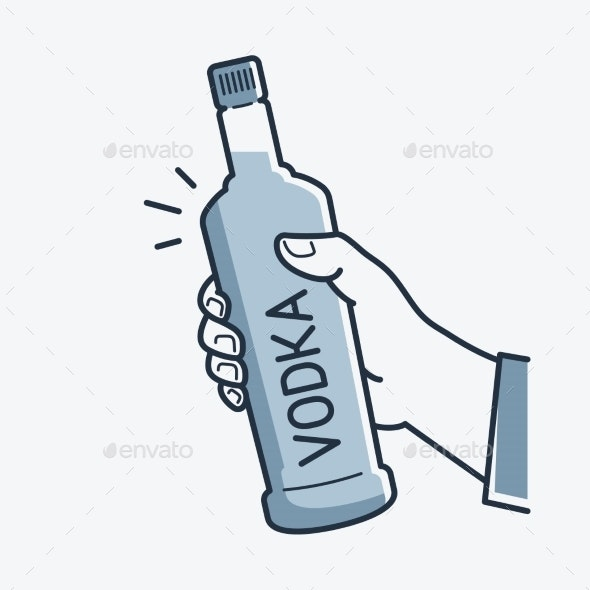 Hand Holds Vodka Bottle - Food Objects