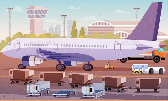 Cargo Transportation by Plane Flat Illustration. - Business Conceptual