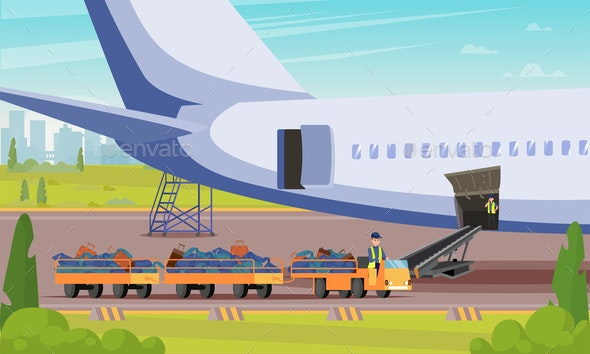 Car With Luggage Passengers Flat Illustration. - Business Conceptual