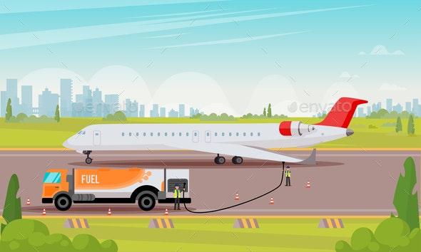 Refueling Passenger Aircraft Flat Illustration. - Business Conceptual
