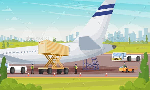 Plane Preparation for Boarding Flat Illustration. - Business Conceptual