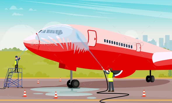 Clean and Maintenance Aircraft Flat Illustration. - Business Conceptual