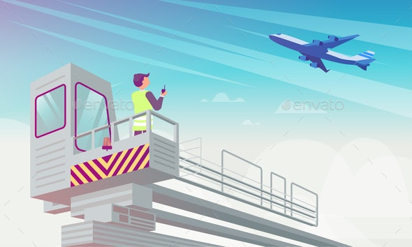 Airport Manager Looks at Plane Flat Illustration. - Business Conceptual