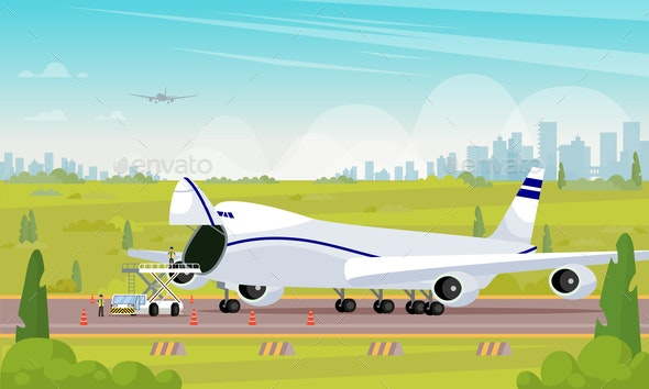 Repair Aircraft in Parking Lot Flat Illustration. - Business Conceptual