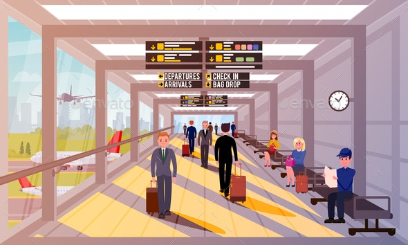 Busy People in Airport Lobby Flat Illustration. - Business Conceptual