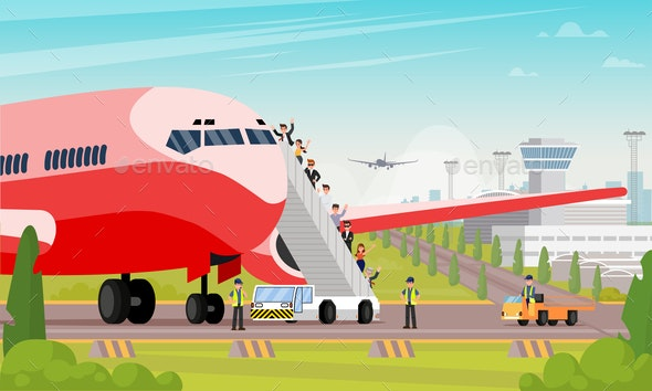 Happy Passengers Board Airplane Flat Illustration - Business Conceptual