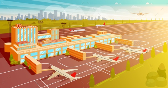 Top View Airport and Runway Flat Illustration. - Business Conceptual